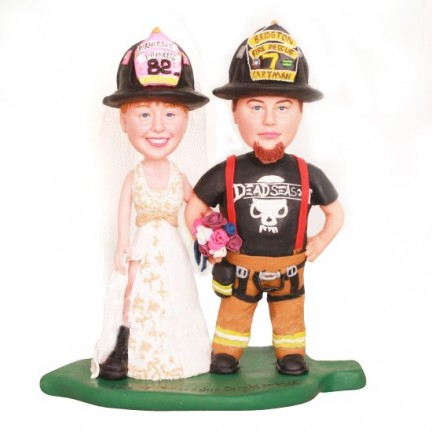 Firefighter Wedding Cake Toppers