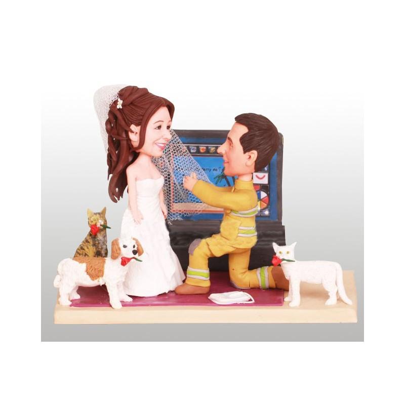 Custom Firefighter Wedding Cake Toppers