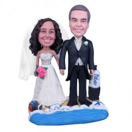 Diving Swimming Beach Wedding Cake Toppers