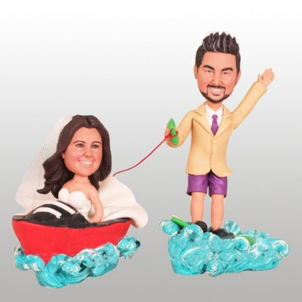Driving Boat Beach Wedding Cake Toppers