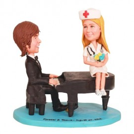 Guitar Player And Singer Wedding Cake Toppers