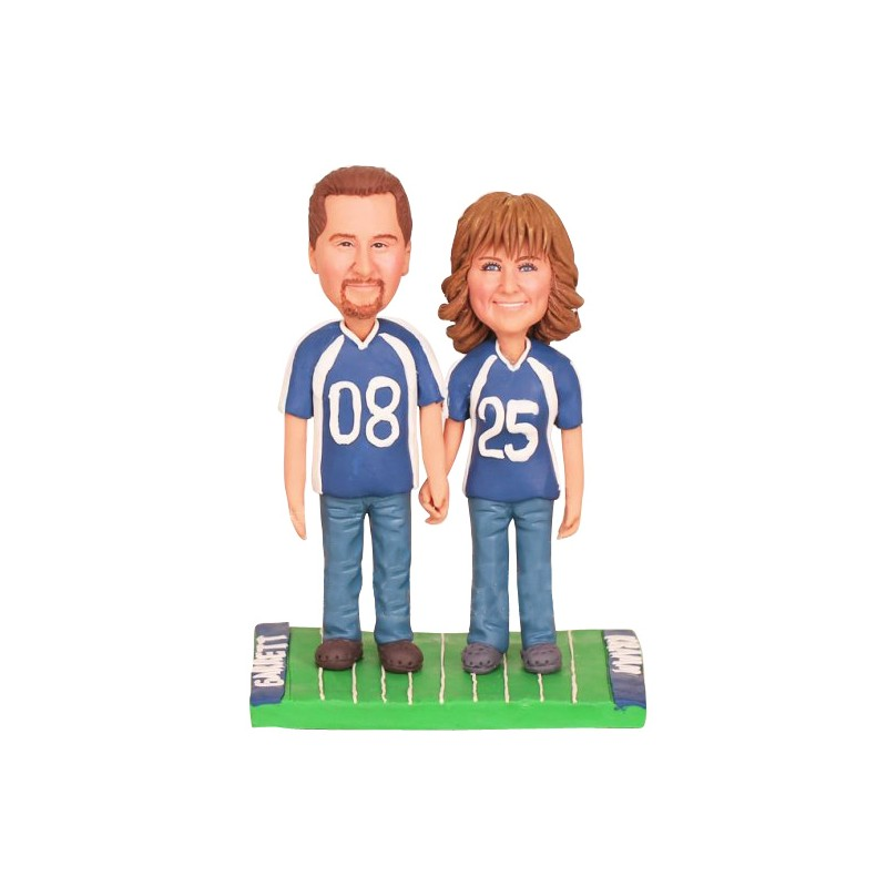 Custom Football Themed Wedding Cake Toppers Bride And Groom With Dog