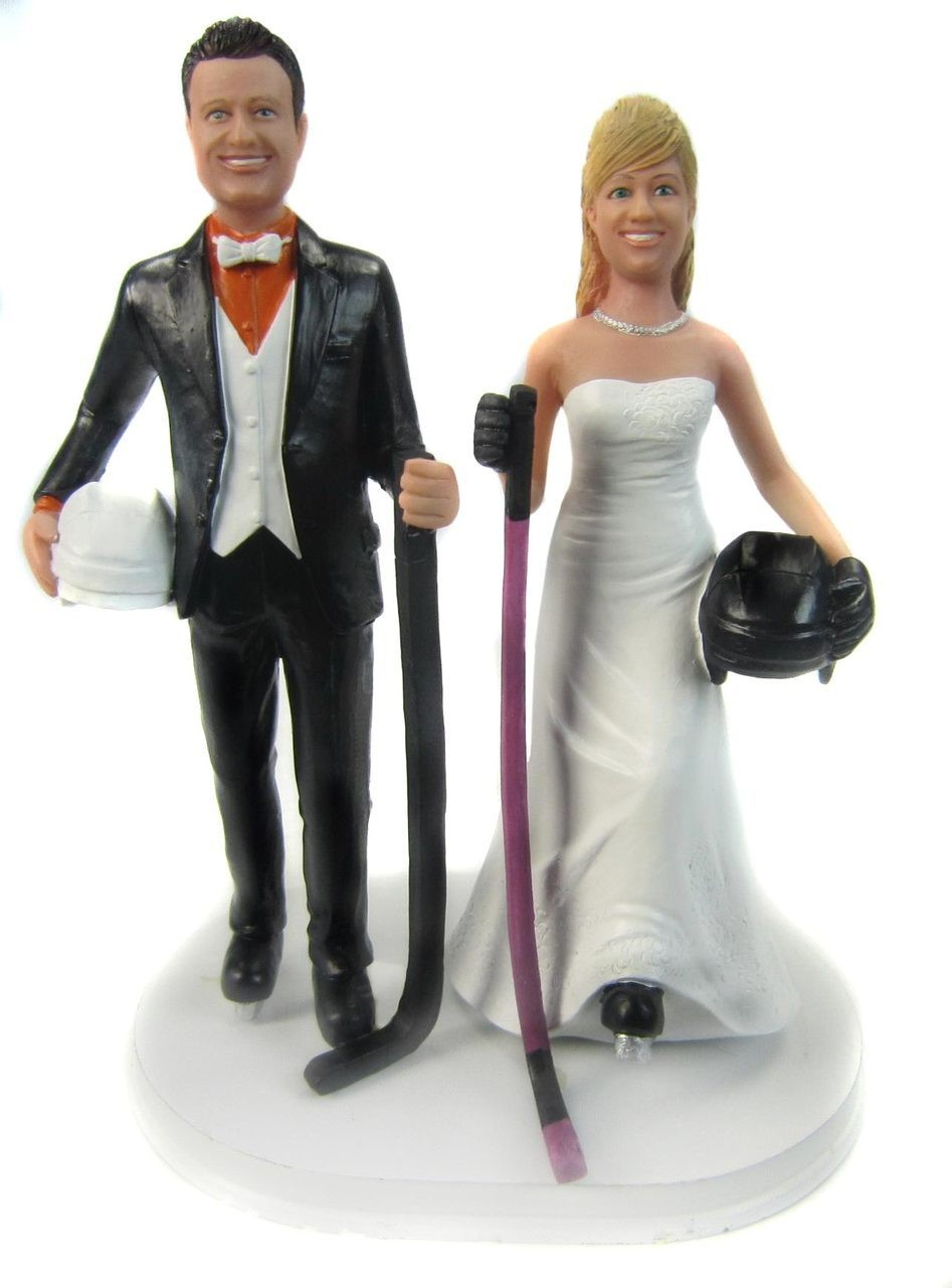 Personalised Bride And Groom Ice Hockey Wedding Cake Toppers