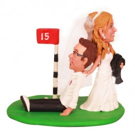 Bride Dragging Groom Away From Golf Wedding Cake Toppers
