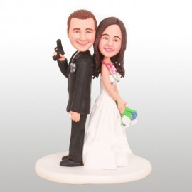 Nurse and Police Wedding Cake Toppers