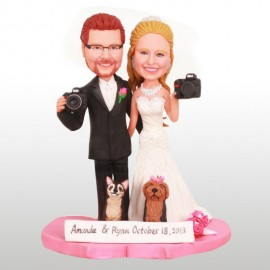 Photographer Bride and Groom Cake Toppers