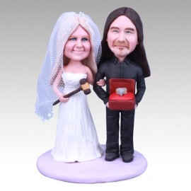 Auctioneer and Ringman Wedding Cake Toppers