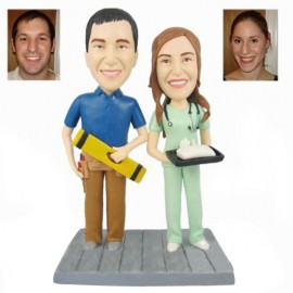 Builder and Nurse Theme Wedding Cake Toppers