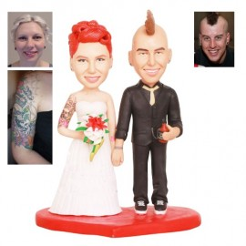 Couple with Mohawk and Tattoos Wedding Cake Toppers