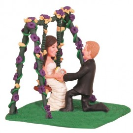 Groom Proposed to Bride on Swing Wedding Cake Toppers