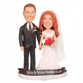 Romantic Wedding Cake Topper with Rose and Heart Base