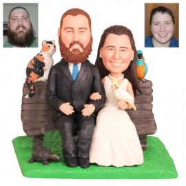 Couple Sitting on Park Bench Wedding Cake Toppers With Pets