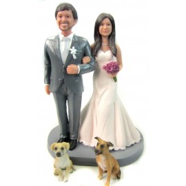 Custom Daisy Bride And Groom Wedding Cake Toppers With Pets