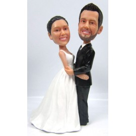 Custom Embrace Bride And Groom Wedding Cake Toppers