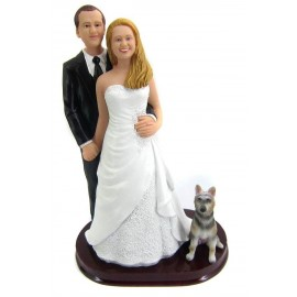 Classic Custom Bride And Groom Wedding Cake Toppers With A Dog