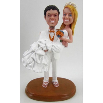 Classic Custom Beach Themed Wedding Cake Toppers With A Dog