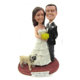 Classic Handmade Bride And Groom Wedding Cake Toppers With A dog