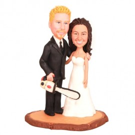 Couple Standing on a Wooden Heart with Carved Initials Wedding Cake Toppers