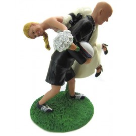 Groom To Back Up The Bride Rugby Wedding Cake Toppers