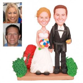 Bride and Groom on a Trail Hiking Wedding Cake Toppers