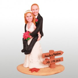 Funny Bride Giving Groom Piggyback Ride Wedding Cake Toppers