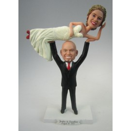 Personalized Weightlifter Groom Wedding Cake Topper