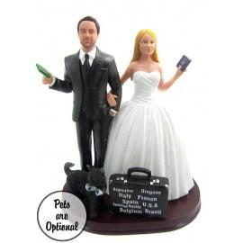 World Traveler Couple Custom Wedding Cake Topper