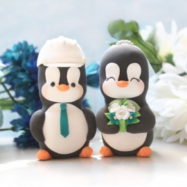 Custom Bride And Groom Penguin Love Bird Wedding Cake Toppers With Construction Hard Hat