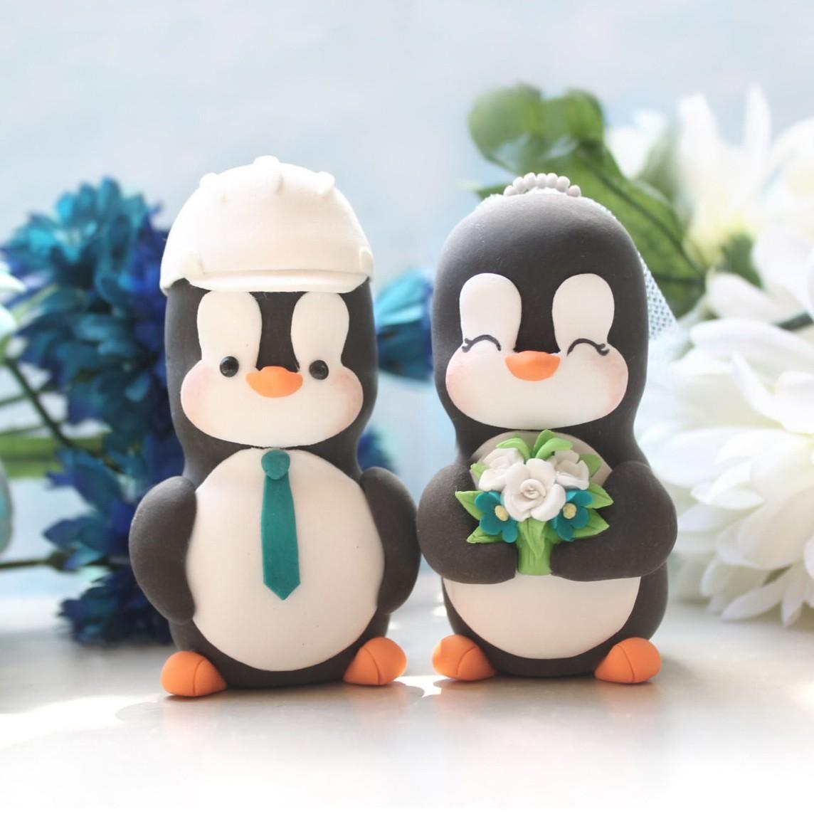 Custom Penguin Love Bird Wedding Cake Toppers With Construction Hard Hat