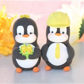 Custom Penguin Wedding Cake Toppers With Construction Hard Hat