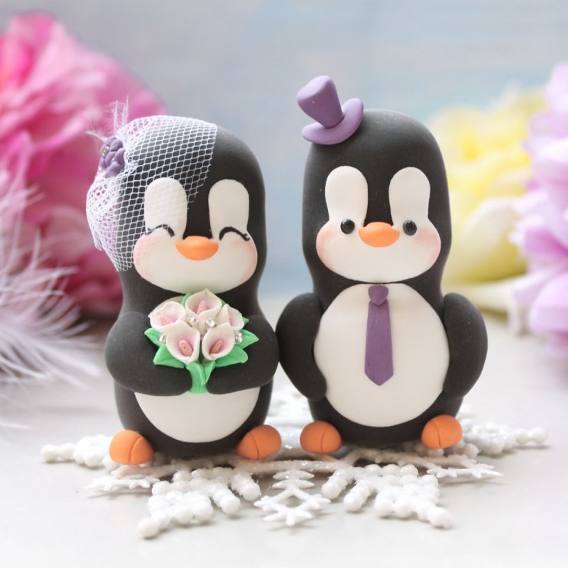 Personalised Penguin Love Bird Wedding Cake Toppers