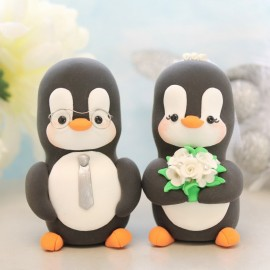Personalised Groom Wearing Glasses Penguin Love Bird Wedding Cake Toppers