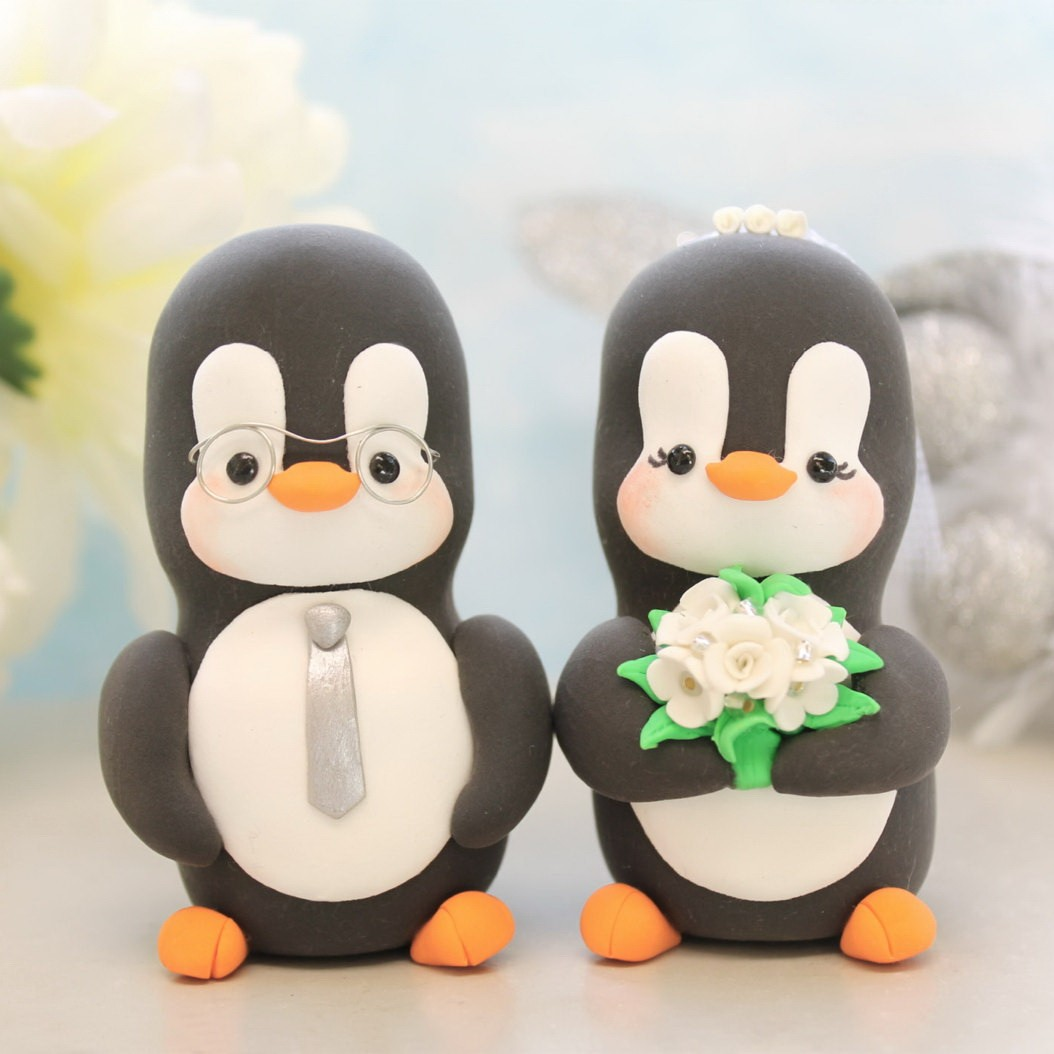Personalised Groom Wearing Glasses Penguin Love Bird Wedding Cake ...