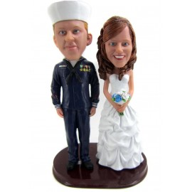 Navy Sailor Military Wedding Cake Toppers