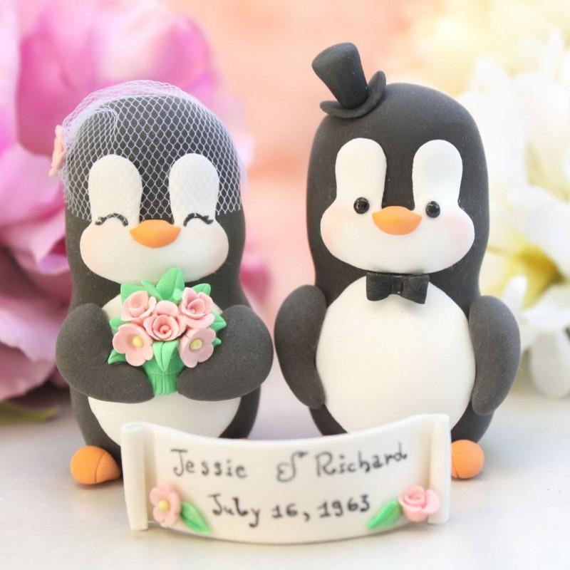 Custom Penguin Love Bird Wedding Cake Toppers