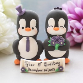 Custom Penguin Love Bird Wedding Cake Toppers