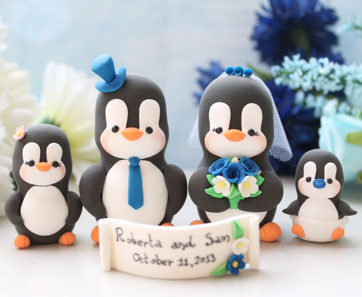 Custom Bride And Groom Penguin Wedding Cake Toppers With Two Kids