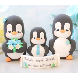 Custom Bride And Groom Penguin Wedding Cake Toppers With A Kid