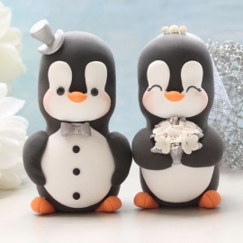 Personalised Bride And Groom Penguin Wedding Cake Toppers