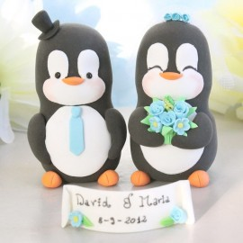 Custom Bride And Groom Penguin Love Bird Wedding Cake Toppers