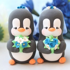 Personalised Lesbian Same Sex Penguin Wedding Cake Toppers
