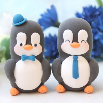 Personalised Gay Same Sex Penguin Wedding Cake Toppers