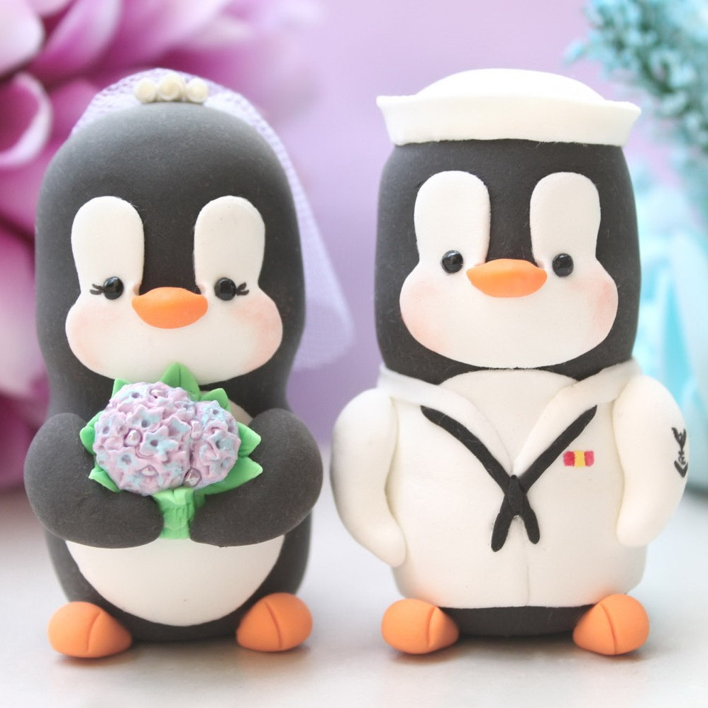 Custom US Navy Military Penguin Wedding Cake Toppers