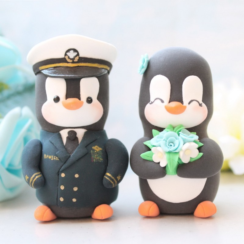Personalised US Army Penguin Military Wedding Cake Toppers