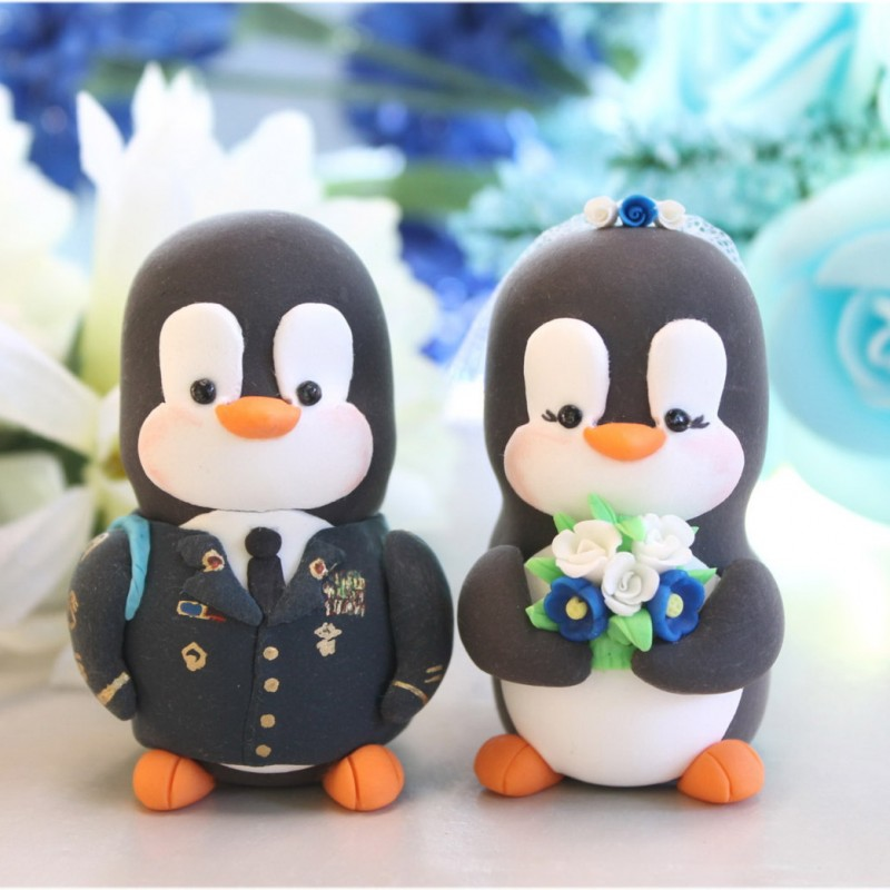 Personalised US Army Military Penguin Wedding Cake Toppers