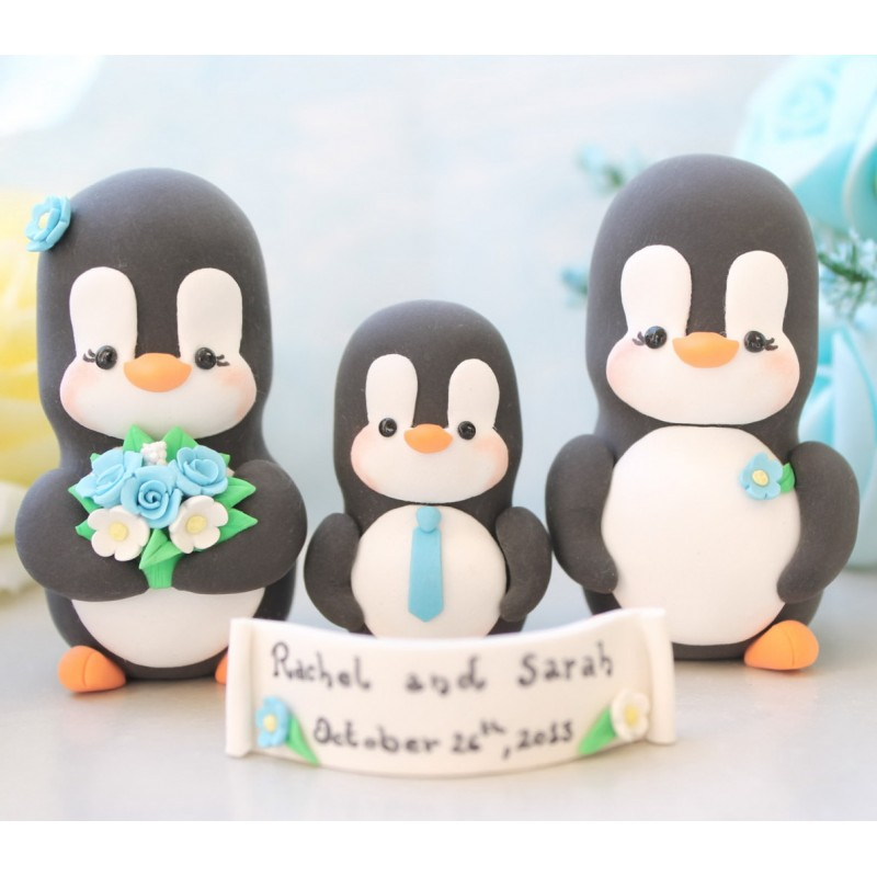 Personalised Penguin Family Wedding Cake Toppers With A Kid