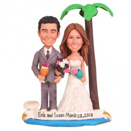 Hawaiian Beach Themed Wedding Cake Toppers