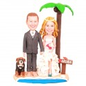 Bride And Groom Hawaiian Theme Beach Wedding Cake Toppers