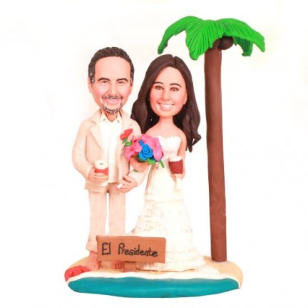 Bride And Groom Beach Themed Cake Toppers