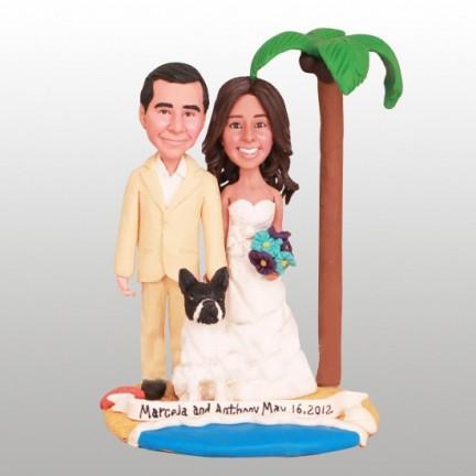 Hawaiian Beach Themed Wedding Cake Toppers